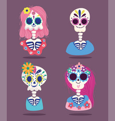 day dead female and male skeletons flowers vector image