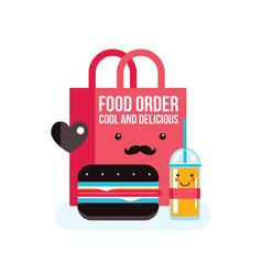 delicious hamburger juice and bag food order vector image