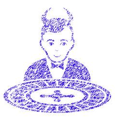 Devil roulette croupier icon grunge watermark vector