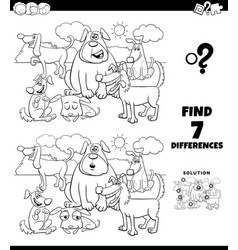 differences coloring game with dogs group vector image