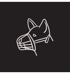Dog with muzzle sketch icon vector image