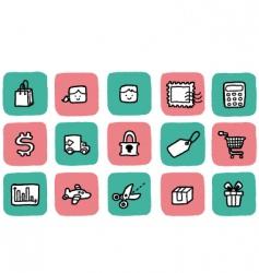 Doodle icon set shopping vector