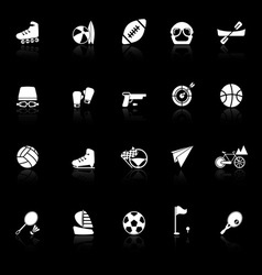 Extreme sport icons with reflect on black vector