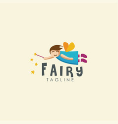 flying young fairy logo mascot cartoon template vector image