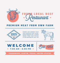 Fresh local beef restaurant signs titles vector