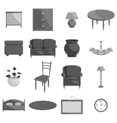 Furniture icons set black monochrome style vector