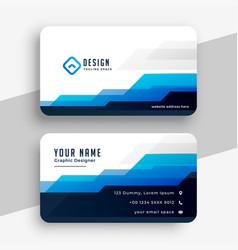 Geometric blue modern business card template vector