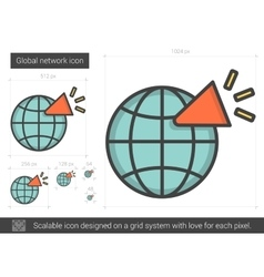 Global network line icon vector