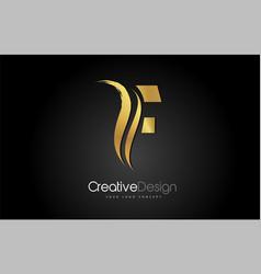 gold metal f letter design brush paint stroke vector image