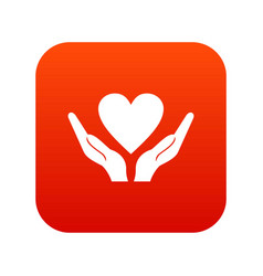 hands holding heart icon digital red vector image