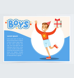 happy boy running with gift box cute kid vector image