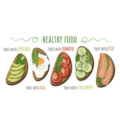 Healthy food toasts with avocado tomato fried vector