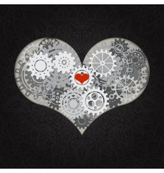 Heart as a mechanism made of cogs and gears vector image vector image