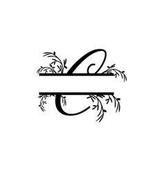 Initial c decorative plant monogram split letter vector