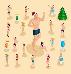 isometric celebration of christmas sea beach vector image