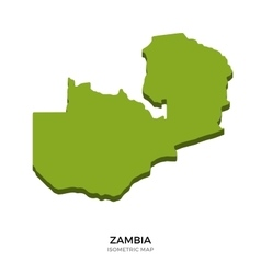 isometric map zambia detailed vector image
