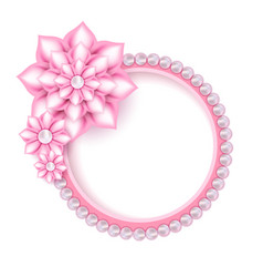 Jewelry pink pearl frame for photo vector