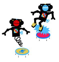 jumping robots cartoon vector image