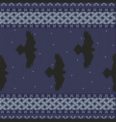 Knit celtic ornament ravens in the starry sky vector