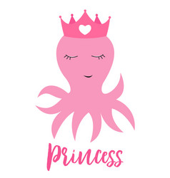 little cute octopus princess with crown for card vector image