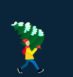Man carrying a snowy fir-tree vector
