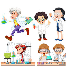 many scientists doing experiment vector image