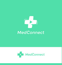 medical cross logo distance doctor consultation vector image