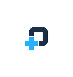 medical letter p logo icon design vector image