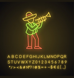 Mexican with trumpet neon light icon vector