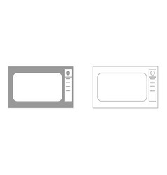 Microwave oven set icon vector