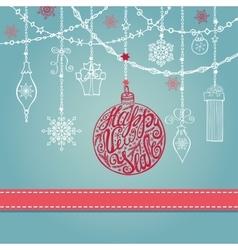 New year card with ballgarlandsgiftsribbon vector image