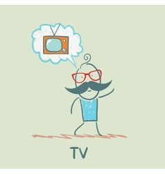 one thinks of the TV vector image