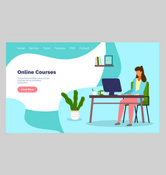 online courses concept with character flat vector image