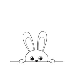 Outline funny peeking bunny isolated on white vector