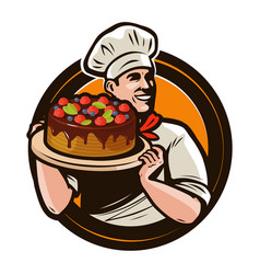 pastry shop logo or label chef with cake on a vector image