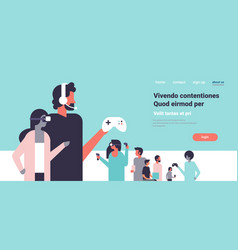 People in vr glasses playing controller gamepad vector