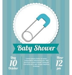 Pin of baby shower card design vector