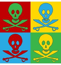 Pop art Jolly Roger icons vector