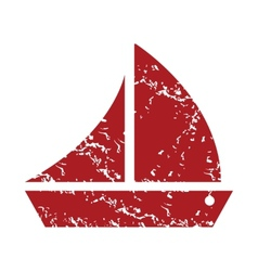Red grunge ship logo vector image