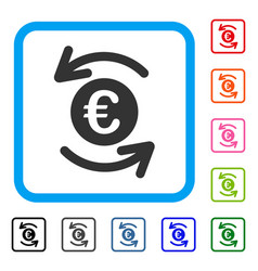 Refresh euro balance framed icon vector
