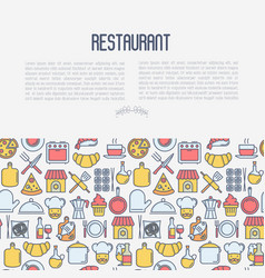 restaurant concept with thin line icons vector image