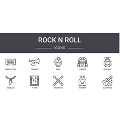 Rock n roll concept line icons set contains icons vector