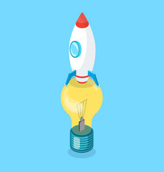 rocket standing on lightbulb vertically vector image