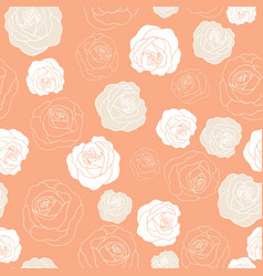 Roses on coral background pattern vector