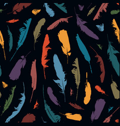 seamless pattern with colored bird feathers vector image