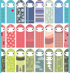 seamless pattern with cute liyyle dolls in korean vector image