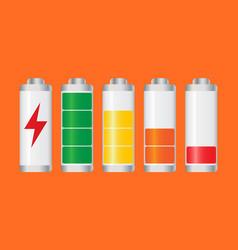 Set of battery charge level indicator on orange vector
