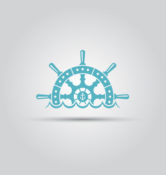 Ship steering wheel and waves isolated logo vector