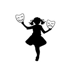 silhouette girl actress world theatre day vector image