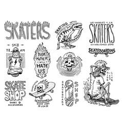 Skateboard shop badges and logo set vintage retro vector